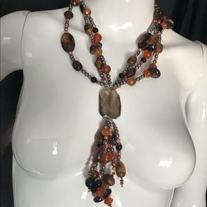 Vintage Jewelry - Agate, Tigers Eye, Coco Wood Long Tassel Necklace
